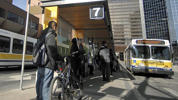 An HSR bus arrives at the MacNab Street Transit Terminal.